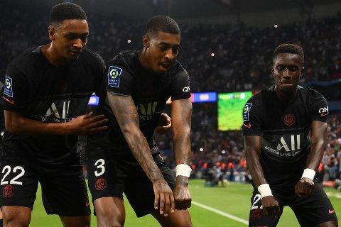 KAN FEIRE: Idrissa Gana Gueye (t.h.) kan juble sammen med lagkameratene etter scoring og ny PSG-seier.