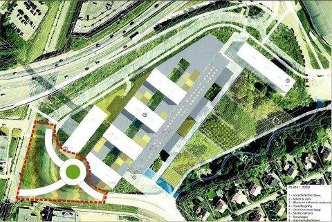 a – Justert: Slik vil både trafikkavviklingen og den blågrønne korridoren langs Gaustadbekken bli best, mener gruppen bak det tidligere A2-alternativet. I det justerte forslaget er sikkerheten ivaretatt, mener de. Illustrasjon: Utlånt