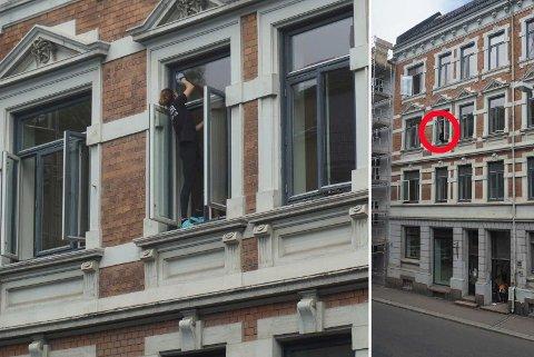 UTENFOR VINDU: Den ansatte vasker vinduet på utsiden i tredje etasje, helt uten sikring.