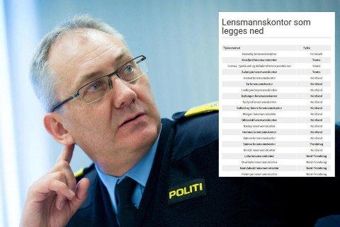 """Politidirektør Odd Reidar Humlegård sier politiressursene har vært """"smørt for tynt ut over landet"""". Nå legges 126 tjenestesteder ned."""