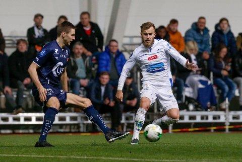 KLAR FOR MORO: Frederik Gytkjær, her i Haugesunds treningskamp mot Viking tidligere i år, er klar for å ha det moro - på og utenfor banen.