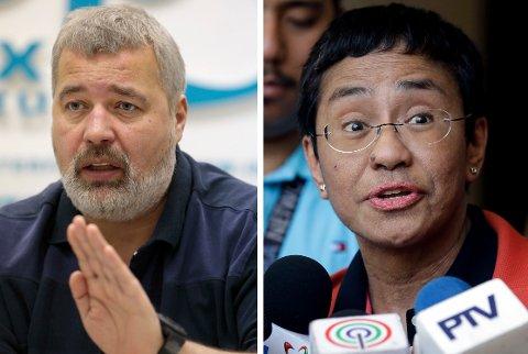 FREDSPRISVINNERE: Fredag ble det kunngjort at russiske Dimitrij Muratov og filippinske Maria Ressa tildeles Nobels fredspris for 2021.