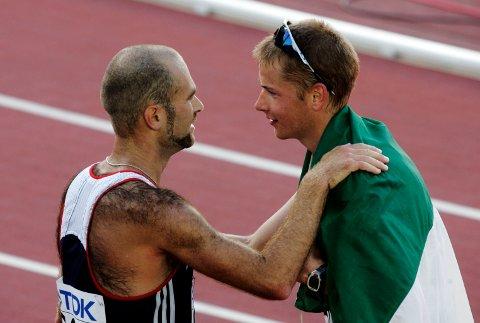 Alex Schwarzer tok 3.-plassen på 50 kilometer kappgang i VM i Helsingfors i 2005. Den gang ble Trond Nymark nummer 4. Foto: Cornelius Poppe / NTB