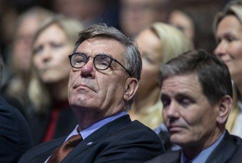 SKUFFET: Stein Erik Hagen er hovedaksjonær og styreleder i Orkla. Til høyre Orkla-sjef Peter Ruzicka.