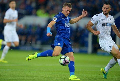 FULLTREFFER: Jamie Vardy fikk stoppet måltørken og banet vei for Leicesters seier over Swansea lørdag.