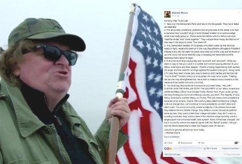 TA MAKTEN TILBAKE: Filmskaper og aktivist Michael Moore ber amerikanere ta det demokratiske partiet tilbake. Facebook-posten hans med 5 punkter er delt 170.000 ganger.