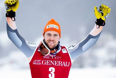 BEST I BAKKEN: Aleksander Aamodt Kilde sikret seg sin første triumf i verdenscupen sammenlagt da sesongen ble kortet ned. Her fra Kvitfjell tidlig i mars.