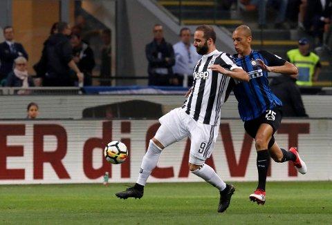 HESEBLESENDE DRAMA: Gonzalo Higuaín avgjorde kampen for Juventus da laget slo Inter.