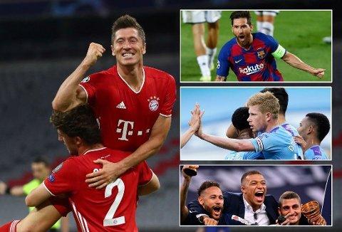 HVEM VINNER? Nesten alle storklubbene er fortsatt med i kampen om Champions League-trofeet. Blir det maskineriet Bayern München som vinner, eller kanskje overraskelseslaget Atalanta? Eller er det i år tid for de styrtrike klubbene Manchester City og PSG?