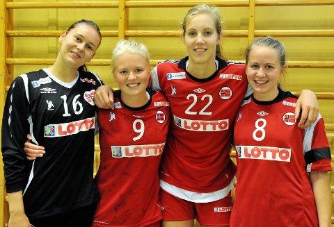 Klare: Marie Sundfør Tømmerbakke (venstre), Caroline Smith og Kristine Breistøl drar til EM i Nederland i dag. NIFs Tina Magnus (høyre) er hjemmeværende reserve.