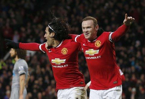 SUPERDUO: Radamel Falcao og Wayne Rooney ble for mye for Newcastle å håndtere andre juledag.