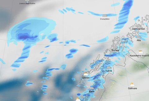 LAVTRYKK: På kvelden søndag vil et nytt polart lavtrykk treffe kysten i Nord-Norge.
