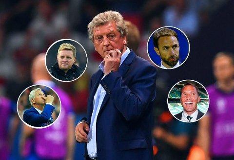 OPPDRAG LEDIG: Roy Hodgson (midten) har gått av. Kandidatene til å overta som Englands landslagssjef listes opp uten den helt store entusiasmen. Fra venstre Alan Pardew, Eddie Howe, Gareth Southgate og Brendan Rodgers.