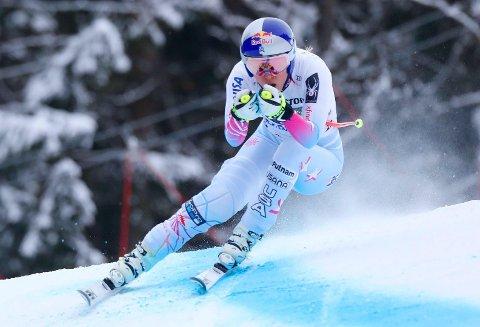 MARGINALT: Lindsey Vonn gjorde en fantastisk sving mot slutten av utfoløypa i Garmisch-Partenkirchen, noe som var akkurat nok til å knipe tilstrekkelig med tid på konkurrentene.