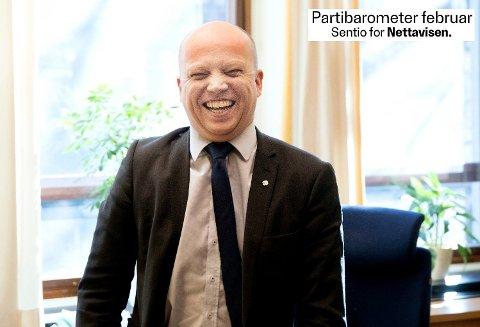 RETT TIL TOPPS: Senterpartiets leder Trygve Slagsvold Vedum har god grunn til å være fornøyd. På Nettavisen og Amedias partibarometer for februar, går hans parti mest fram, og er Norges tredje største parti. Foto: (Scanpix)