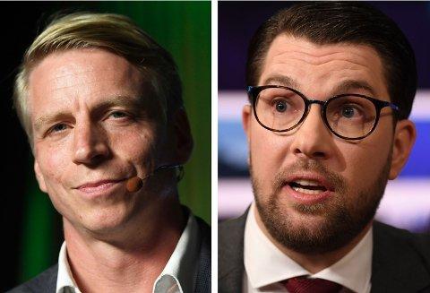 OPPHETET: Miljøpartiets Per Bolund og Sverigedemokraternas Jimmie Åkesson havnet i verbalt basketak under partilederdebatten søndag.