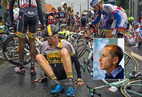 SKUMMEL UTVIKLING: Mads Kaggestad (innfelt) tror forklaringen på de mange ulykkene i sykkelfeltet handler om mer enn kjøretøyene rundt syklistene. Bildet viser sammenlagthåpet Steven Kruijswijk etter en av mange velt i fjorårets Tour de France. Nederlenderen kom seg unna uten alvorlige skader.