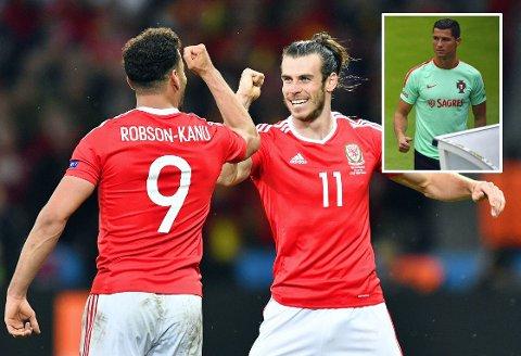 GODT SKUSSMÅL: Hal Robson-Kanu tror Wales kommer til å ha den beste spilleren på banen i EM-semifinalen mot Portugal og Cristiano Ronaldo (innfelt). Her feirer Robson-Kanu scoring mot Belgia sammen med Gareth Bale.
