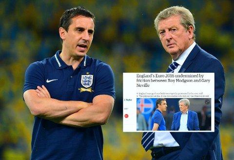 FORARGET: Gary Neville (til venstre) finner seg ikke i søndagens oppslag hos The Observer og The Guardian (innfelt).