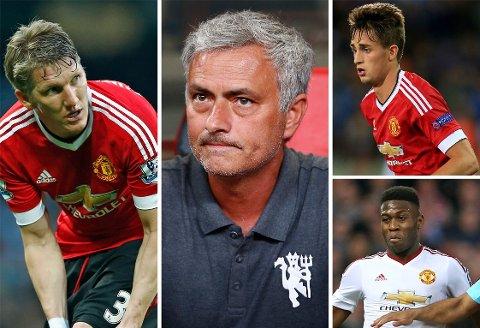 NÅDELØST: Jose Mourinho (midten) vil rydde vekk spillere han ikke mener har framtid i Manchester United. Blant disse er Bastian Schweinsteiger (til venstre), Adnan Januzaj (øverst til høyre) og Timothy Fosu-Mensah (nede til høyre).
