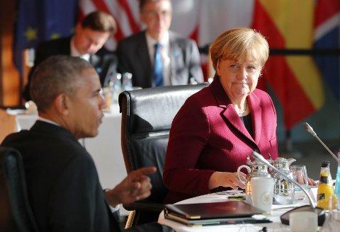 Tysklands statsminister Angela Merkel i møte med USAs president Barack Obama. Under besøket i Berlin har han uttalt at hvis han hadde vært tysk, ville han ha stemt på Merkel.