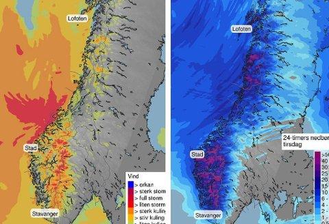 STORM: Det blir storm på kysten og det er sendt ut OBS-vasel for fjellovergangene i Sør-Norge, mens Østlandet får pent vær.