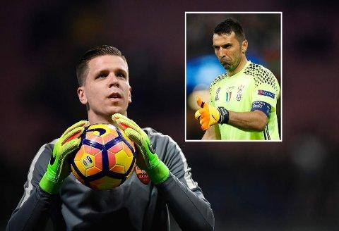 AVSLØRT HEMMELIGHET? Gianluigi Buffon (innfelt) gir tilsynelatende tommelen opp for ankomsten til en konkurrent som trolig blir etterfølgeren i Juventus.