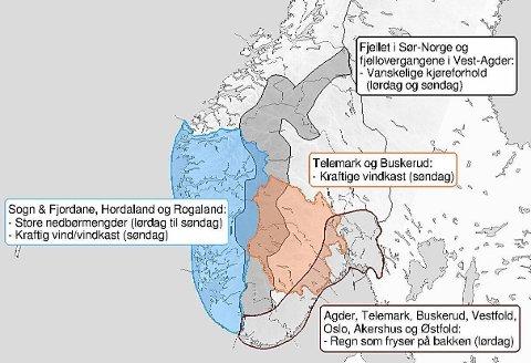 Meteorologisk institutt har sendt ut flere farevarsler for helga. Her får du en oversikt.