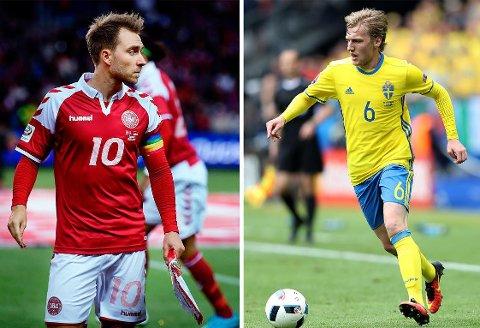SVENSK OVERMANN? Danmark-kaptein Christian Eriksen (til venstre) har lagt mange sterke sesonger bak seg i Tottenham og med landslaget. Men ikke alle er enig i at han fortjener å bli kalt Nordens beste spiller. Sveriges Emil Forsberg er bedre, påstår enkelte.