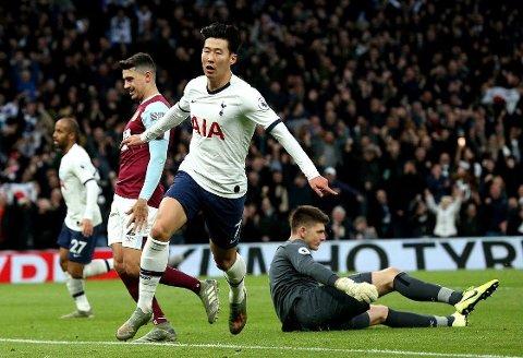 VANVITTIG SOLORAID: Tottenham-stjernen Heung-min Son tok med seg ballen over nesten hele banen før han punkterte hjemmekampen mot Burnley allerede før pause.
