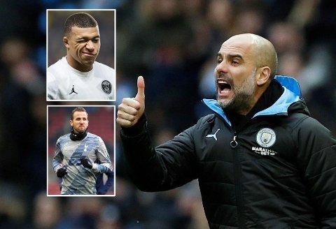 PLASTRE PÅ «SÅRET»? Manchester City og Pep Guardiola skal ifølge flere engelske aviser kjøpe stort. Kylian Mbappé (innfelt øverst), og Harry Kane (innfelt nederst) påstås å være blant alternativene.