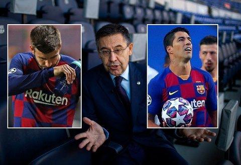 SAMARBEIDET OVER? Dagene til Gerard Piqué og Luis Suárez i Barcelona kan gå mot slutten. Klubbpresident Josep Maria Bartomeu (midten) lover en verdig avslutning for etablerte spillere på vei ut.