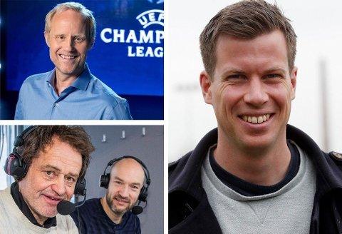 INNBRINGENDE ARBEID: Øyvind Alsaker (øverst til venstre) og Jesper Mathisen jobber for TV 2-sporten, mens Torgeir Bjørn og Jann Post (nederst til venstre) er kommentatorer i NRKs sendinger.