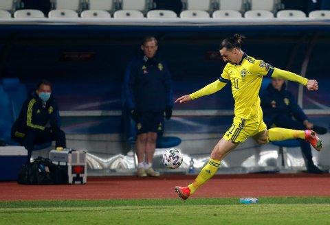 Zlatan Ibrahimovic i den svenske landslagsdrakten 28. mars. Foto: Visar Kryeziu / AP / NTB.