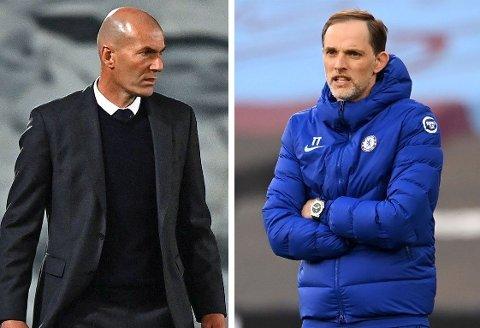 DUELLANTER: Real Madrid-trener Zinedine Zidane og Chelseas Thomas Tuchel sender sine sterkeste lag på banen når det spilles om Champions League-finale.