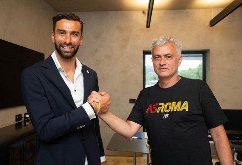 PÅ SAMME LAG: Portugiserne Rui Patrício og José Mourinho skal ta tak sammen for Roma de kommende sesongene.