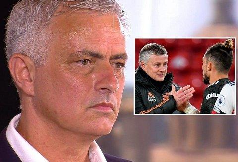 FIKK NEI: Roma-trener José Mourinho har hull å fylle på laget, men kan trolig se langt etter en håndsrekning fra Man United, her representert ved Ole Gunnar Solskjær og Alex Telles (innfelt).