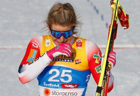 RORENDE: Mari Eide, som mistet søsteren Ida i fjor, tok bronse under VM-sprinten torsdag.