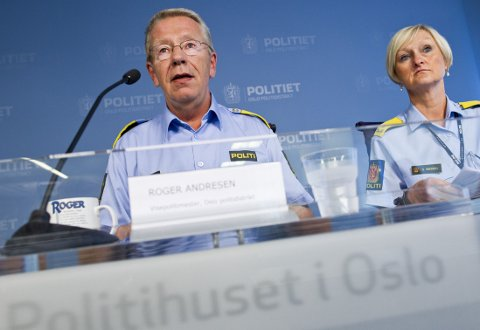 Fungerende politimester Roger Andresen og visepolitimester Gro Smogeli i Oslo politidistrikt presenterte halvårstall for 2014 på Politihuset på Grønland fredag formiddag.