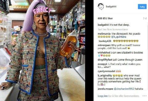 RIHANNA deler photoshoppede bilder av dronning Elizabeth på Instagram.