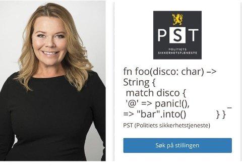 GÅR ANDRE VEIER: Politiets Sikkerhetstjeneste har lagt inn denne gåten i sin søken etter en systemutvikler, og lover den som klarer å løse den at han/hun kan være med å gjøre Norge tryggere. Hodejeger Trine Larsen har stor sans for grepet PST tar her.