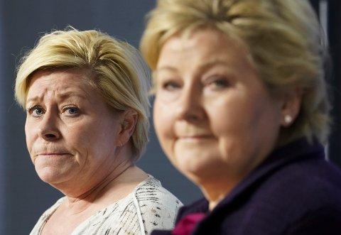 TVILER: Frp-leder Siv Jensen er tvilende til om Høyre med statsminister Erna Solberg i spissen virkelig kommer til å stramme inn i innvandringspolitikken på sitt landsmøte neste år.