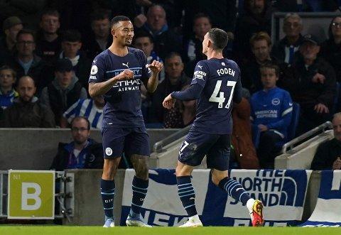 Gabriel Jesus og Phil Foden kom begge på scoringslisten mot Brighton lørdag. Foto: Gareth Fuller/PA via AP / NTB