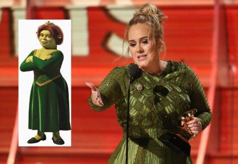 HETSET: Artisten Adele måtte tåle sammenligninger med Shrek-karakteren Fiona etter Grammy-utdelingen i februar.