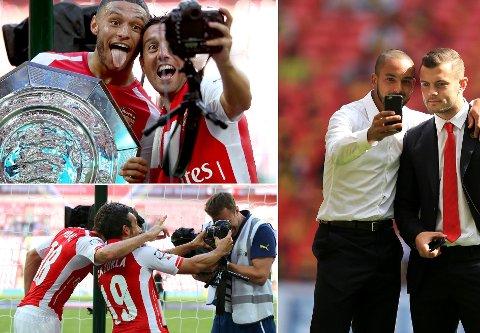 SELFIE: Arsenal-spillerne er rutinerte selfie-takere.