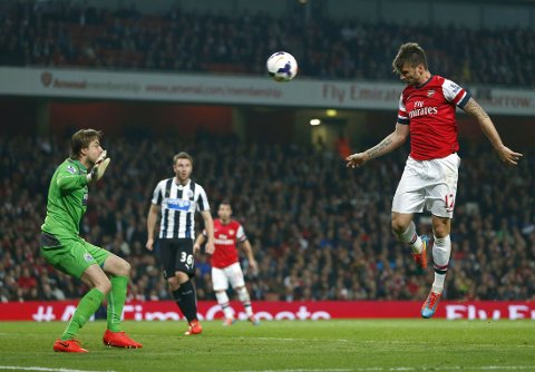 EFFEKTIV: Ifølge Opta har Olivier Giroud scoret tre mål på de fire headingene han har hatt på mål denne sesongen.