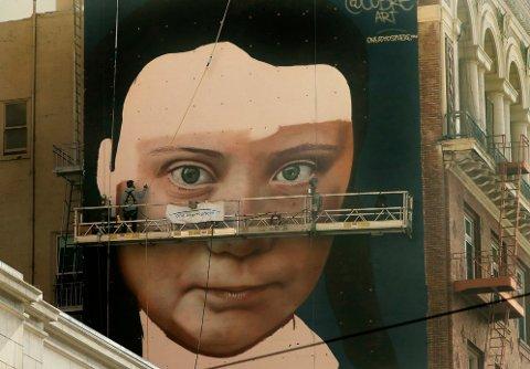 Kunstverket av Greta Thunberg skal være ferdigstilt på tirsdag neste uke, ifølge kanalen. Foto: Ben Margot, AP / NTB scanpix