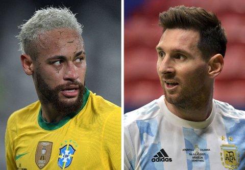 KLART FOR FINALE: Neymar møtes til duell mot sin tidligere lagkamerat i Barcelona, Lionel Messi, når Brasil og Argentina barker sammen på mektige Maracanã.