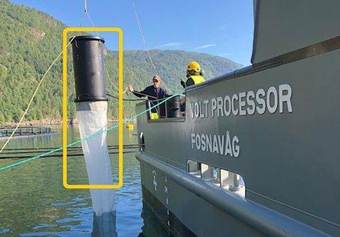 STØVSUGER: Denne støvsugeren skapte stor nysgjerrighet under Aqua Nor. Finner oppdrettsnæringen en løsning på lakselusa, vil det ha en effekt omtrent tilsvarende hva en løsning på klimaendringene ville hatt for oljebransjen.