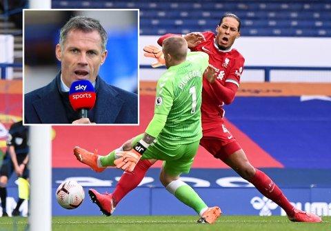MANGE REAKSJONER: Jamie Carragher er blant dem som har kastet seg inn i diskusjonen om Jordan Pickfords takling på Virgil van Dijk.